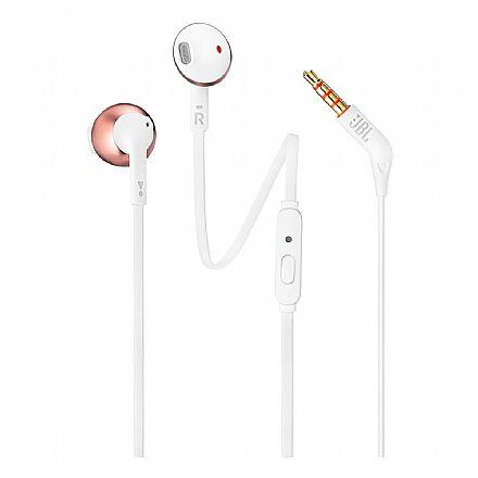 Fone de Ouvido Auricular JBL Tune 205 - com Microfone - Conector 3.5mm - Branco e Rosé - JBLT205RGD