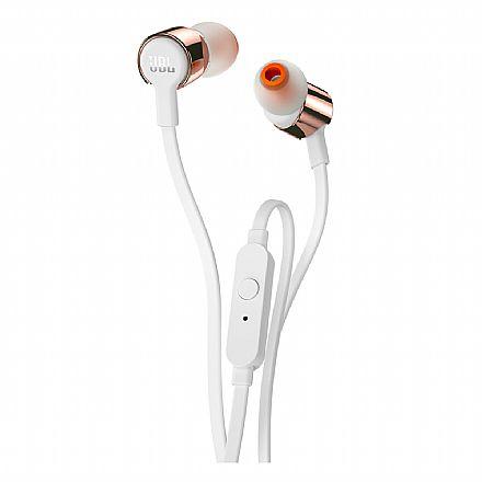 Fone de Ouvido Intra-Auricular JBL Tune 210 - com Microfone - Conector 3.5mm - Branco e Rosé Gold - JBLT210RGD