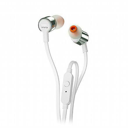 Fone de Ouvido Intra-Auricular JBL Tune 210 - com Microfone - Conector 3.5mm - Branco e Prata - JBLT210GRY