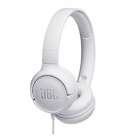 Fone de Ouvido JBL Tune T500 - Dobrável - com Microfone - Conector 3.5mm - Branco - JBLT500WHT