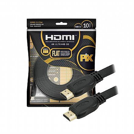Cabo HDMI 2.0 Flat - 10 Metros - 4K UltraHD HDR 60Hz / 1080p Full HD 120Hz