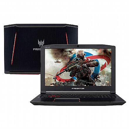 "Notebook Acer Predator Helios 300 G3-572-75L9 - Tela 15.6"" IPS Full HD, Intel i7 7700HQ, 16GB, HD 2TB + SSD 120GB, GeForce GTX 1060 6GB, Windows 10"