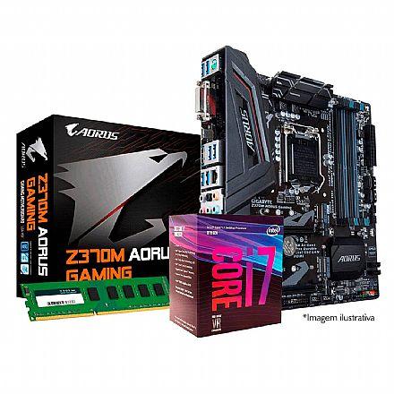 Kit Upgrade Intel® Core™ i7 8700 + Gigabyte Z370M AORUS GAMING + Memória 8GB DDR4