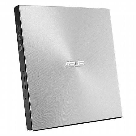 Gravador DVD Externo Asus Ultra Slim ZenDrive U9M - Portátil - Conexão por USB e USB-C - Prata - SDRW-08U9M-U/SIL