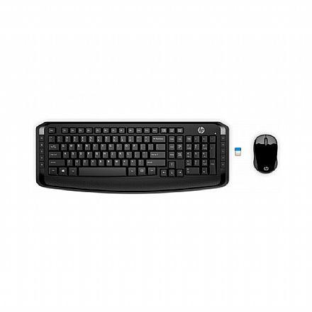 Kit Teclado e Mouse sem Fio HP 300 - ABNT2 - com Teclas Multimídia - 1600dpi - 2.4GHz - Preto - 3ML04AA