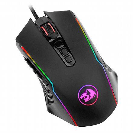 Mouse Gamer Redragon Ranger Black - 12400dpi - 9 Botões Programáveis - LED RGB - M910-RGB