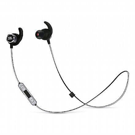 Fone de Ouvido Esportivo Bluetooth Intra-Auricular JBL Reflect Mini 2 - com Microfone - Resistente a Suor - Preto - JBLREFMINIBT2BLK