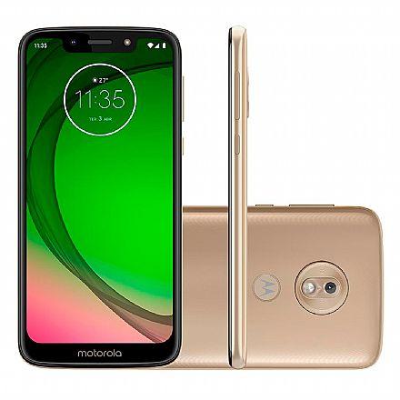 "Smartphone Motorola Moto G7 Play - Tela 5.7"" HD+, 32GB, Dual Chip 4G, Câmera 13MP, Leitor de Digital - Ouro - XT1952-2"