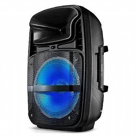 Caixa Amplificada Multilaser SP293 - Bluetooth, USB e SD - Rádio FM - Entrada para Microfone - Iluminação LED - Preto