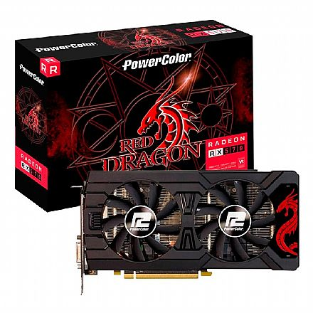AMD Radeon RX 570 4GB GDDR5 256bits - Red Dragon - Power Color AXR 570 4GBD5-3DHDV2/OC