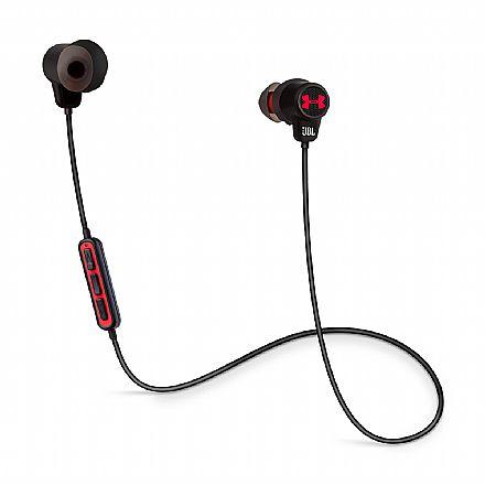 Fone de Ouvido Esportivo Bluetooth Intra-Auricular JBL Under Armour Wireless - com Microfone - Resistente a Suor - Preto e Vermelho - UAJBLIEBTBLK