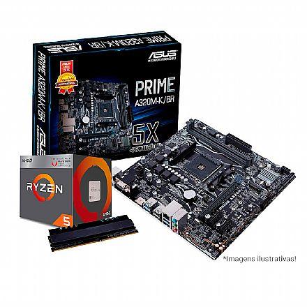 Kit Upgrade AMD Ryzen™ 5 2400G + Asus Prime A320M-K/BR + Memória 8GB DDR4
