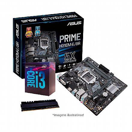 Kit Upgrade Intel® Core™ i3 8100 + Asus Prime H310M-E/BR + Memória 8GB DDR4