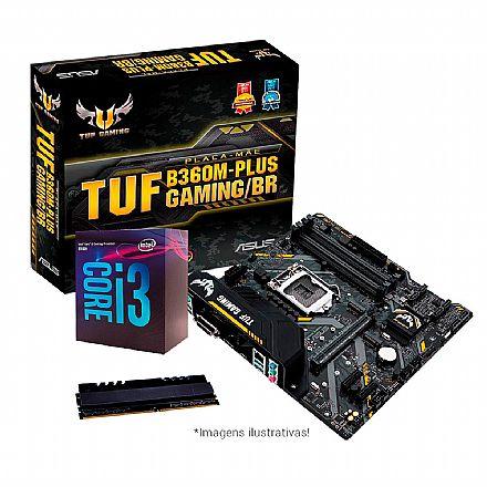 Kit Upgrade Intel® Core™ i3 8100 + Asus TUF B360M-PLUS GAMING/BR + Memória 8GB DDR4