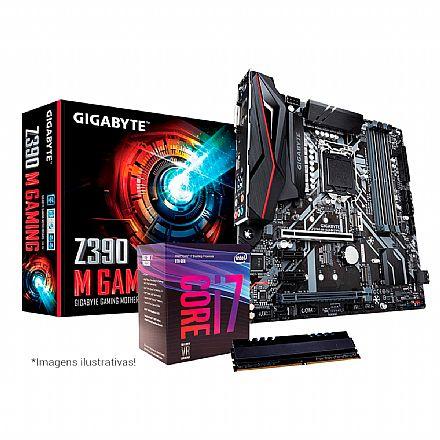 Kit Upgrade Intel® Core™ i7 8700 + Gigabyte Z390 M GAMING + Memória 8GB DDR4