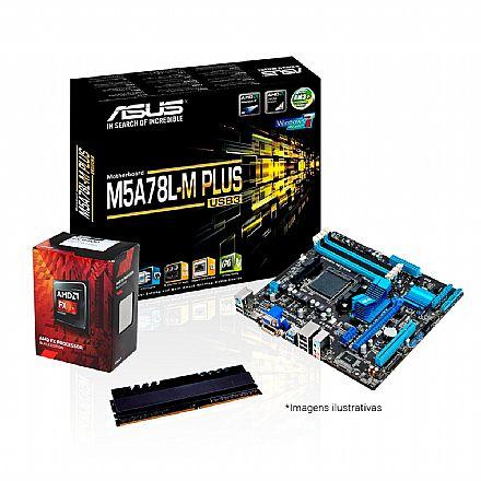 Kit Upgrade AMD FX-6300 + Asus M5A78L-M PLUS/USB3 + Memória 4GB DDR3