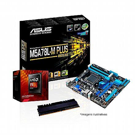 Kit Upgrade AMD FX-8350 + Asus M5A78L-M PLUS/USB3 + Memória 8GB DDR3