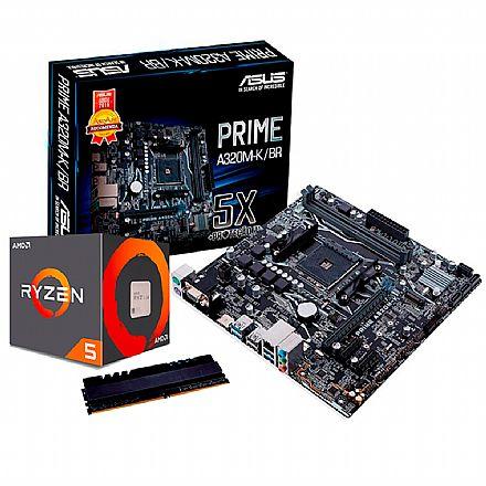 Kit Upgrade AMD Ryzen™ 5 2600 + Asus Prime A320M-K/BR + Memória 8GB DDR4
