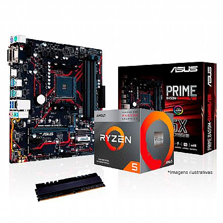 Kit Upgrade AMD Ryzen™ 5 3400G + Asus Prime B450M GAMING/BR + Memória 8GB DDR4
