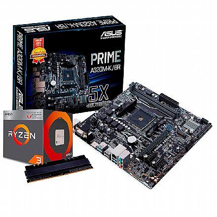 Kit Upgrade AMD Ryzen™ 5 3400G + Asus Prime A320M-K/BR + Memória 8GB DDR4