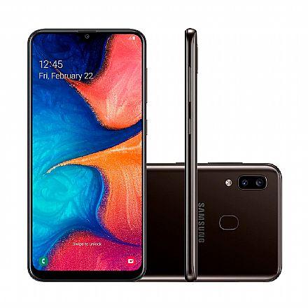 "Smartphone Samsung Galaxy A20 - Tela 6.4"" Super AMOLED Infinita, 32GB, Dual Chip 4G, Câmera Dupla 13MP - Preto - SM-A205G - Open Box"