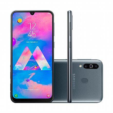 "Smartphone Samsung Galaxy M30 - Tela 6.4"" Super AMOLED Infinita, 64GB, Dual Chip 4G, Câmera Tripla 13MP + 5MP + 5MP, Leitor de Digital - Preto - SM-M305M/64DL"