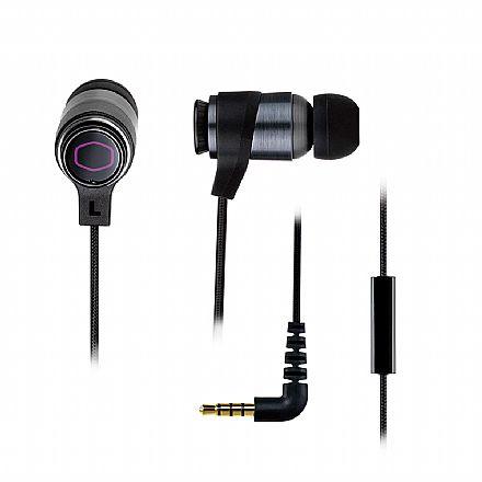 Fone de Ouvido Intra Auricular Gamer Cooler Master MH-710 - com Microfone - Conector 3.5mm - Acompanha Case e Cabos Adaptadores para PC, Xbox One, PS4 e Nitendo Switch - Preto