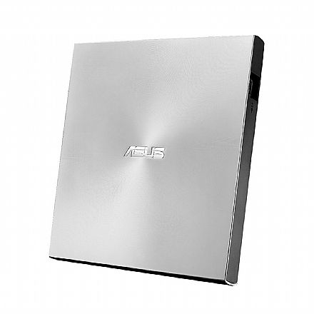 Gravador DVD Externo Asus Ultra Slim - Portátil - USB - Prata - SDRW-08U7M-U