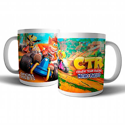 Caneca de porcelana - Crash Team Racing - Oficina dos Bits