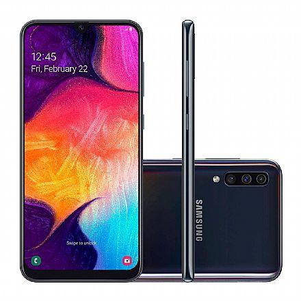 """Smartphone Samsung Galaxy A50 - Tela 6.4"""" Super Amoled, 128GB, Dual Chip, Câmera Tripla 25MP, Leitor de Digital na tela - Preto - SM-A505GT"""