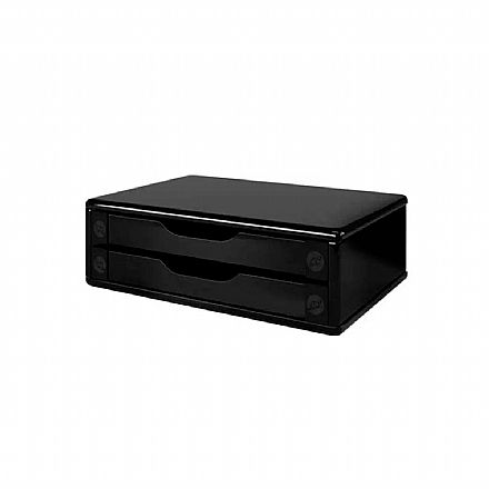 Suporte para Monitor de Mesa - com 2 Gavetas - Black Piano - 3346