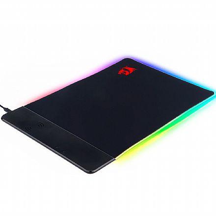 Mouse Pad Gamer Redragon Blitz - 400 x 270 x 3mm - Iluminação RGB - com QI Charger - USB - P025