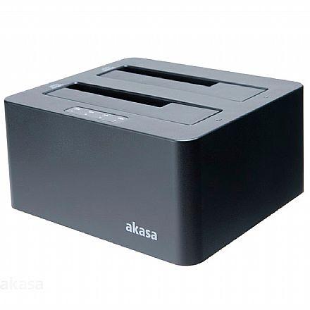 """Docking Station para SSD e HD 2.5"""" / 3.5"""" SATA Akasa DuoDock X3 - USB 3.1 - com Função Clonagem Automática - AK-DK08U3-BK"""