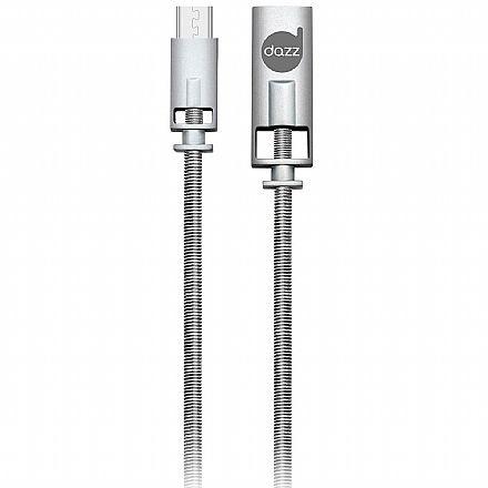 Cabo Micro USB para USB - 90cm - Prata - Liga de Zinco - Dazz 6013710