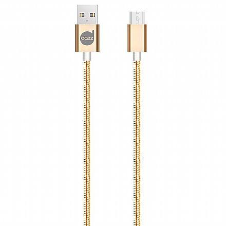 Cabo Micro USB para USB - 90cm - Dourado - Metal Entrelaçado - Dazz 6013671