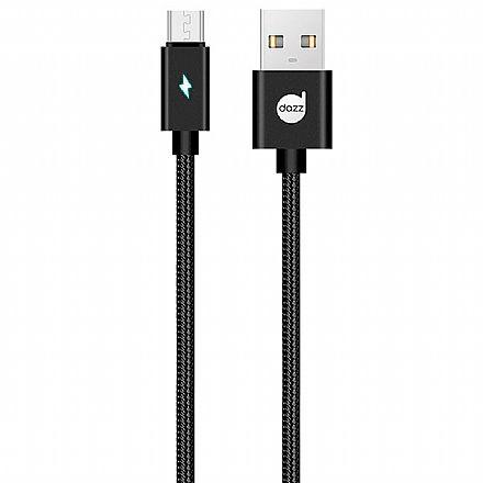 Cabo Micro USB para USB - 90cm - Preto - com Indicador LED - Nylon Entrelaçado - Dazz 6013705