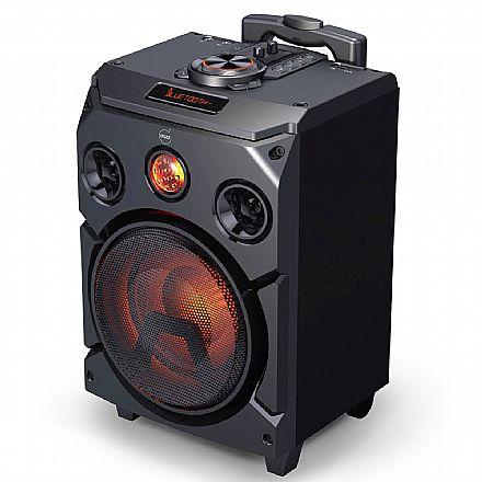 Caixa de Som Dazz Sounds Power - 400W RMS - USB - Bluetooth - Função Karaokê - Bateria Recarregável - LED RGB - Função Power Bank - Preta - 60000002