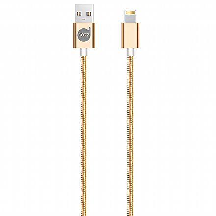 Cabo Lightning para USB - Para iPhone, iPad e iPod - 90cm - Dourado - Metal Entrelaçado - Licenciado Apple - Dazz 6013781
