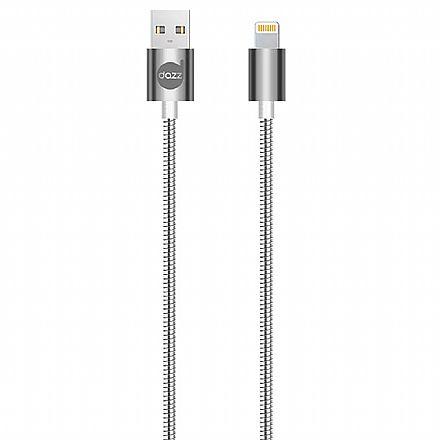 Cabo Lightning para USB - Para iPhone, iPad e iPod - 90cm - Prata - Metal Entrelaçado - Licenciado Apple - Dazz 6013796