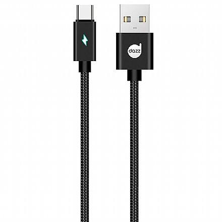 Cabo USB-C para USB - 90cm - USB Tipo C - Preto - com Indicador LED - Nylon Entrelaçado - Dazz 6013648