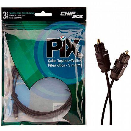 Cabo Óptico Digital Toslink - para Áudio Digital - 3 Metros - Chip SCE 018-9003