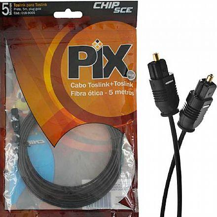 Cabo Óptico Digital Toslink - para Áudio Digital - 5 Metros - Chip SCE 018-9005