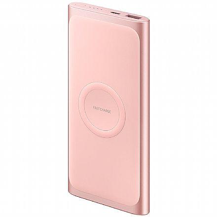 Power Bank Carregador Portátil Original Samsung EB-U1200CPPGBR - Bateria Externa 10.000mAh - Carga Rápida Sem Fio - USB tipo C - Rosé