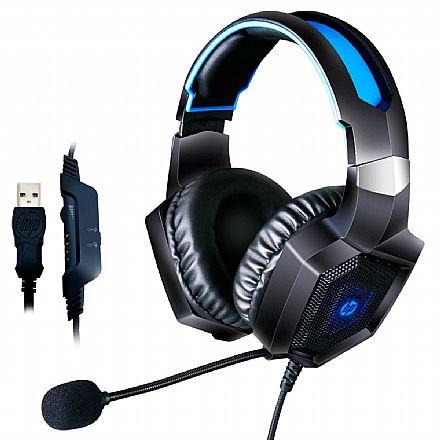 Headset Gamer HP H320GS - Som Virtual 7.1 Surround - com Controle de Volume e Microfone - Conector USB - Iluminação LED - 8AA14AA