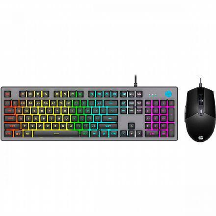 Kit Teclado e Mouse Gamer HP KM300F - ABNT2 - USB - Iluminação RGB - 6400dpi - 8AA01AA