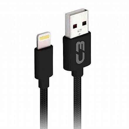 Cabo Lightning para USB - Para iPhone, iPad e iPod - 2 Metros - Preto - C3Tech CB-L21BK C3PLUS