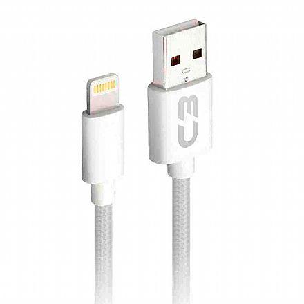 Cabo Lightning para USB - Para iPhone, iPad e iPod - 2 Metros - Branco - C3Tech CB-L21WH C3PLUS