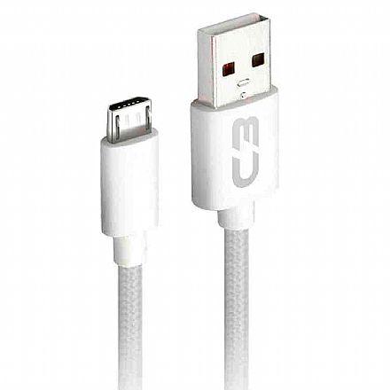 Cabo Micro USB para USB - 2 Metros - Branco - C3Tech CB-M21WH C3PLUS