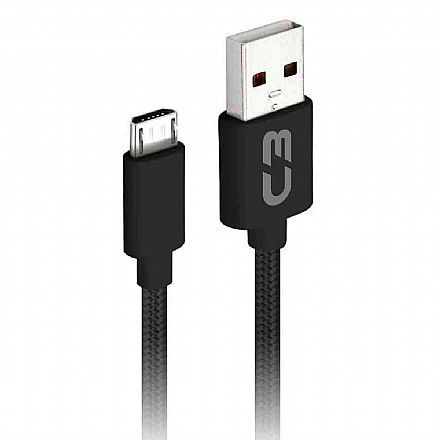 Cabo Micro USB para USB - 2 Metros - Preto - C3Tech CB-M21BK C3PLUS