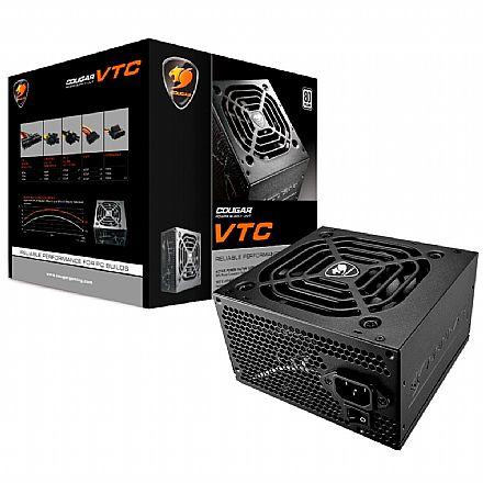 Fonte 500W Cougar VTC500 - PFC Ativo - Eficiência 84% - 80 PLUS® White - VTC500